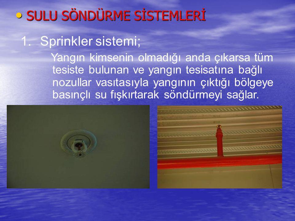 Yangın Söndürme Sistemleri Sulu söndürme sistemi Sulu söndürme sistemi İki farklı sistemden oluşur 1.Yangın dolapları ; Yangın pompaları tarafında gön