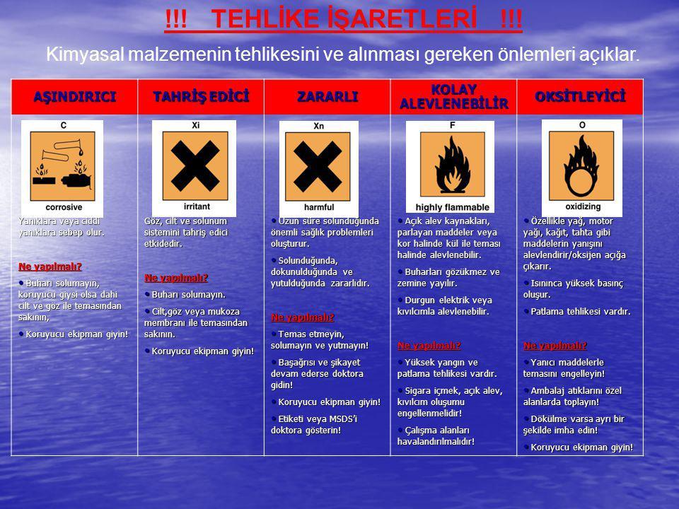 !!! TEHLİKE İŞARETLERİ !!! Kimyasal malzemenin tehlikesini ve alınması gereken önlemleri açıklar. AŞINDIRICI (C) TAHRİŞ EDİCİ (X i ) ZARARLI (Xn) KOLA