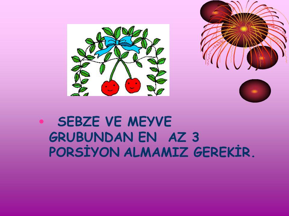 3.GRUP SEBZE VE MEYVELER Patates, karnabahar, kereviz, patlıcan, enginar, pancar, kabak, domates, salatalık, biber, yeşil yapraklı sebzeler, havuç ve
