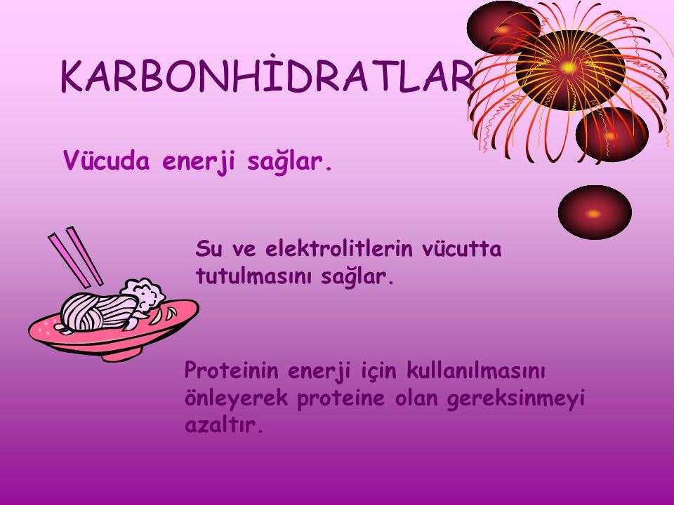KARBONHİDRATLAR Vücuda enerji sağlar.Su ve elektrolitlerin vücutta tutulmasını sağlar.
