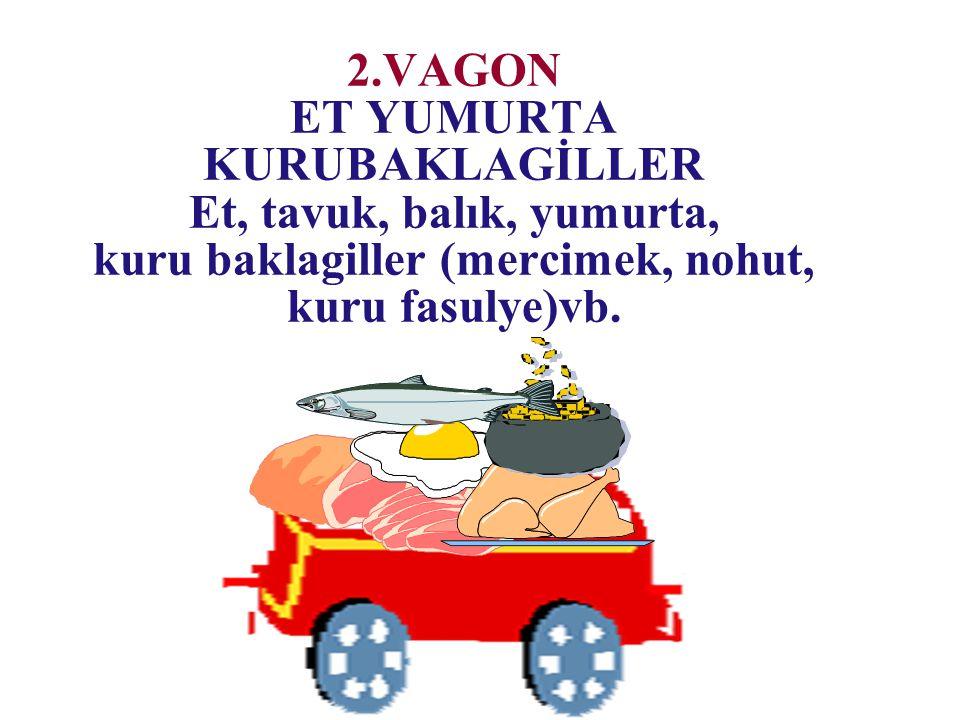 2.VAGON ET YUMURTA KURUBAKLAGİLLER Et, tavuk, balık, yumurta, kuru baklagiller (mercimek, nohut, kuru fasulye)vb.