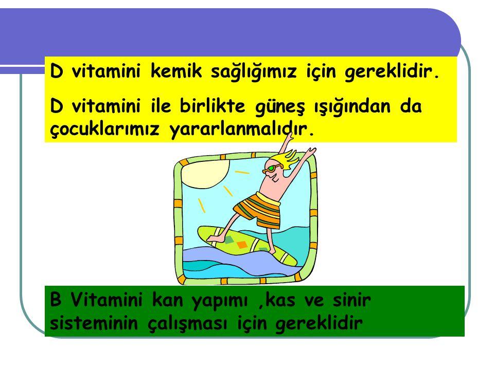 C vitamini grip, nezle ve vücudu hastalıklara karşı korumada etkilidir. Ayrıca diş eti hastalıklarından da korur. Vitaminler : hastalıklardan korunabi