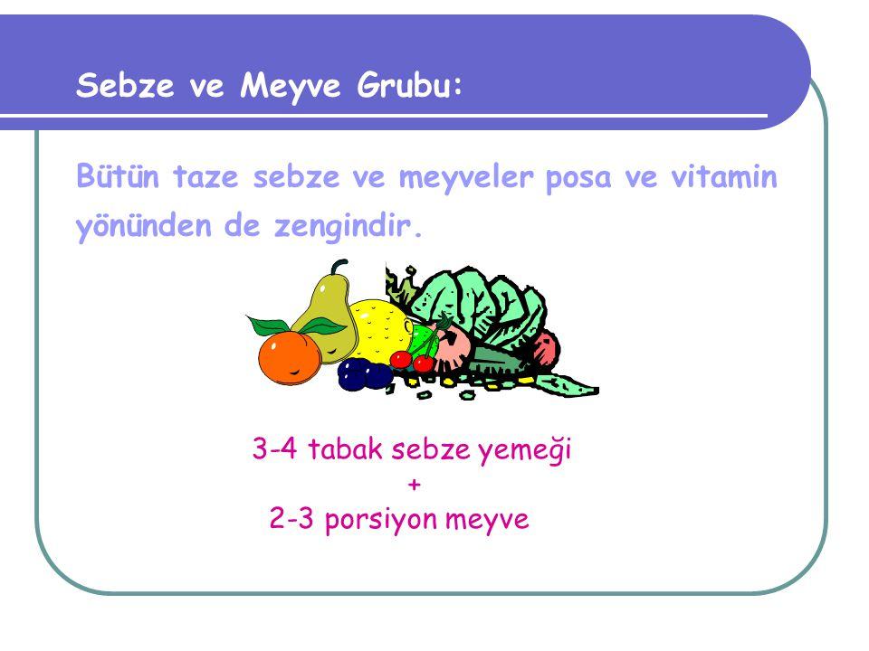 Et-Yumurta-Kurubaklagil Grubu: Kırmızı ve beyaz etler,yumurta, kurubaklagiller, et ürünleri (salam,sosis vb.) 2-3 köfte kadar et, tavuk, balık veya hi