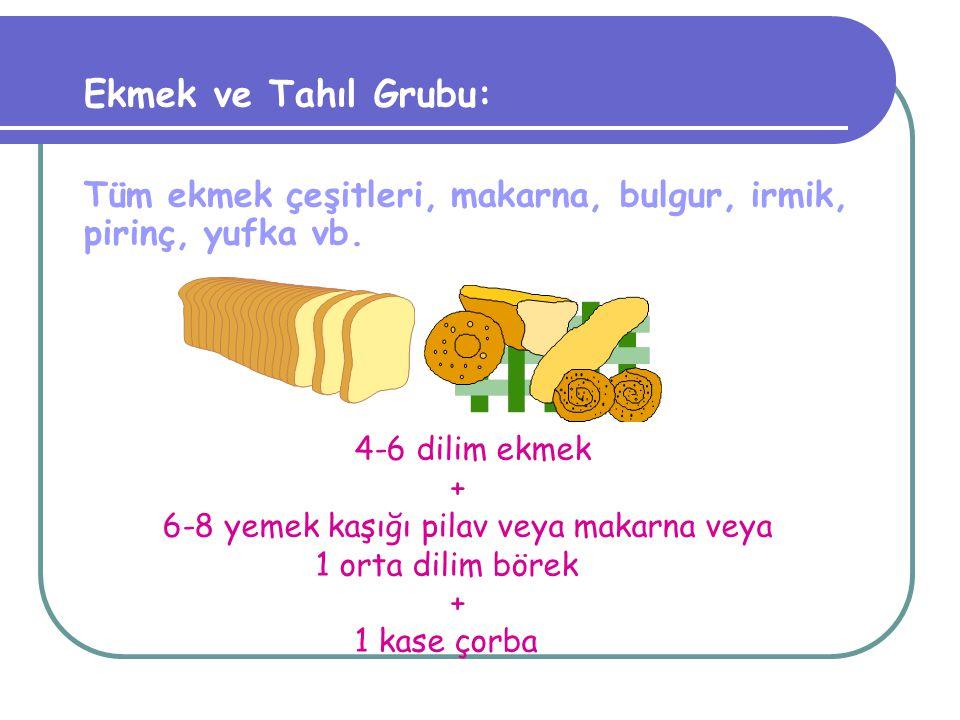 Sebze ve Meyve Grubu: Bütün taze sebze ve meyveler posa ve vitamin yönünden de zengindir. 3-4 tabak sebze yemeği + 2-3 porsiyon meyve