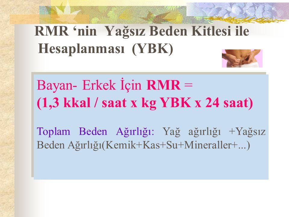 RMR 'nin Yağsız Beden Kitlesi ile Hesaplanması (YBK) Bayan- Erkek İçin RMR = (1,3 kkal / saat x kg YBK x 24 saat) Toplam Beden Ağırlığı: Yağ ağırlığı +Yağsız Beden Ağırlığı(Kemik+Kas+Su+Mineraller+...) Bayan- Erkek İçin RMR = (1,3 kkal / saat x kg YBK x 24 saat) Toplam Beden Ağırlığı: Yağ ağırlığı +Yağsız Beden Ağırlığı(Kemik+Kas+Su+Mineraller+...)