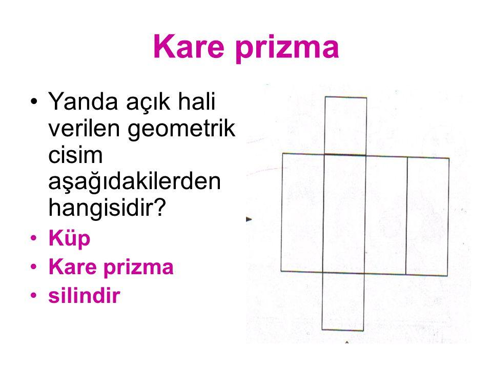 KONİ Yanda açık hali verilen geometrik cisim aşağıdakilerden hangisidir? Küp Koni silindir