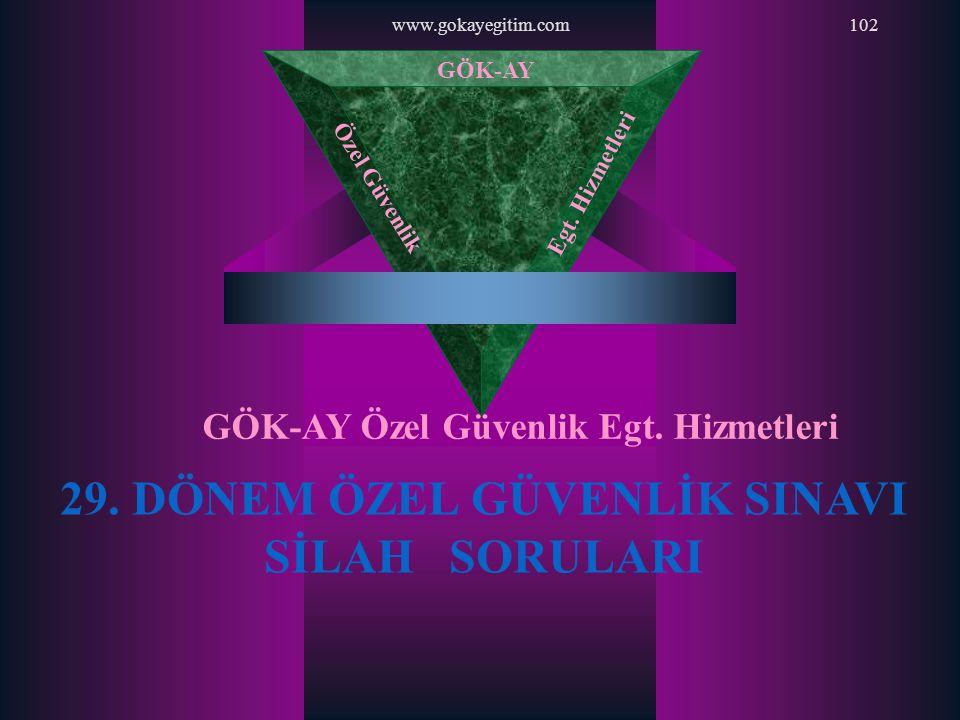 www.gokayegitim.com102 29. DÖNEM ÖZEL GÜVENLİK SINAVI SİLAH SORULARI GÖK-AY Özel Güvenlik Egt. Hizmetleri GÖK-AY Özel Güvenlik Egt. Hizmetleri