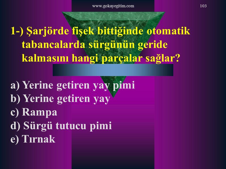 www.gokayegitim.com103 1-) Şarjörde fişek bittiğinde otomatik tabancalarda sürgünün geride kalmasını hangi parçalar sağlar? a) Yerine getiren yay pimi