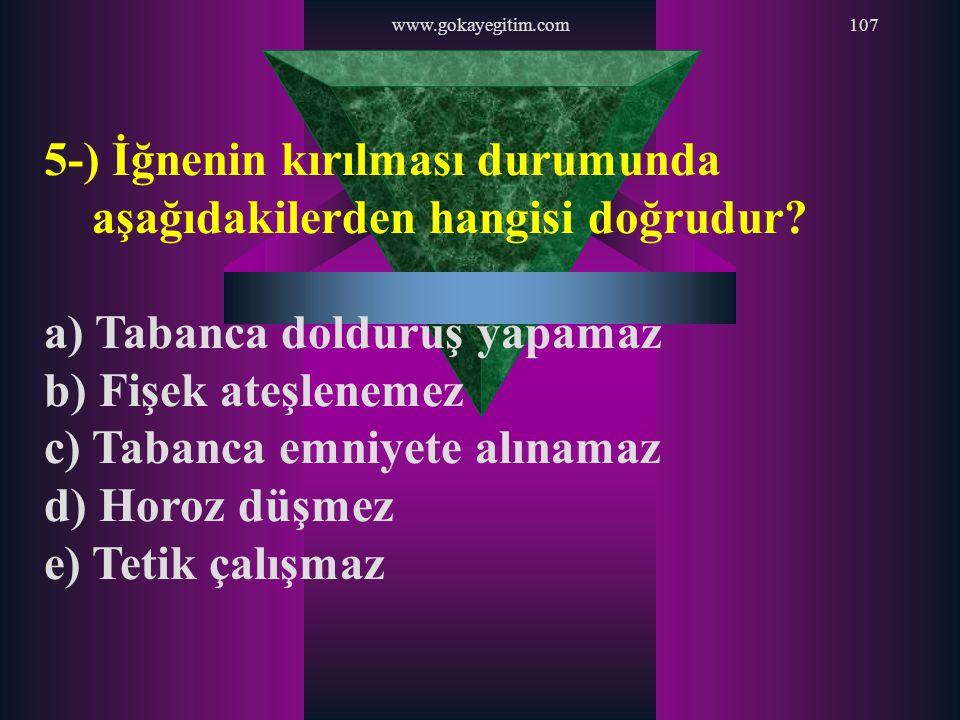 www.gokayegitim.com107 5-) İğnenin kırılması durumunda aşağıdakilerden hangisi doğrudur? a) Tabanca dolduruş yapamaz b) Fişek ateşlenemez c) Tabanca e