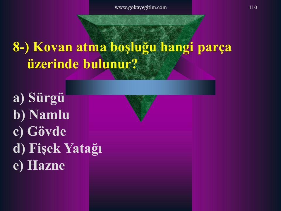 www.gokayegitim.com110 8-) Kovan atma boşluğu hangi parça üzerinde bulunur? a) Sürgü b) Namlu c) Gövde d) Fişek Yatağı e) Hazne