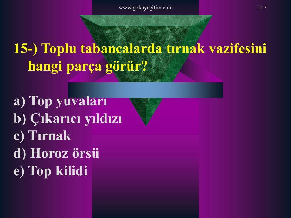 www.gokayegitim.com117 15-) Toplu tabancalarda tırnak vazifesini hangi parça görür? a) Top yuvaları b) Çıkarıcı yıldızı c) Tırnak d) Horoz örsü e) Top
