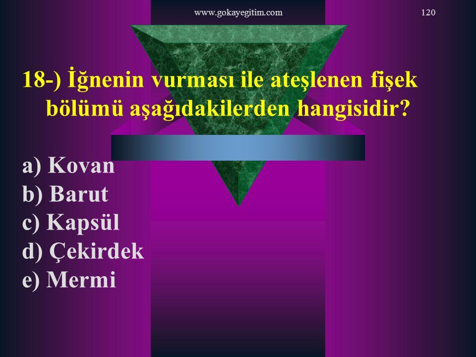 www.gokayegitim.com120 18-) İğnenin vurması ile ateşlenen fişek bölümü aşağıdakilerden hangisidir? a) Kovan b) Barut c) Kapsül d) Çekirdek e) Mermi