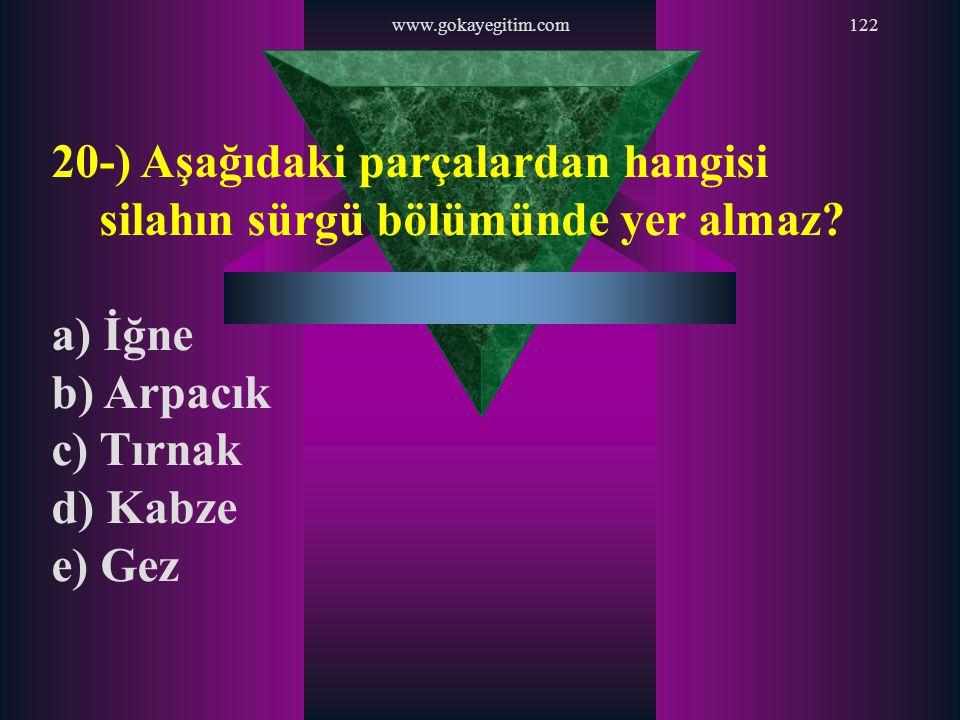 www.gokayegitim.com122 20-) Aşağıdaki parçalardan hangisi silahın sürgü bölümünde yer almaz? a) İğne b) Arpacık c) Tırnak d) Kabze e) Gez