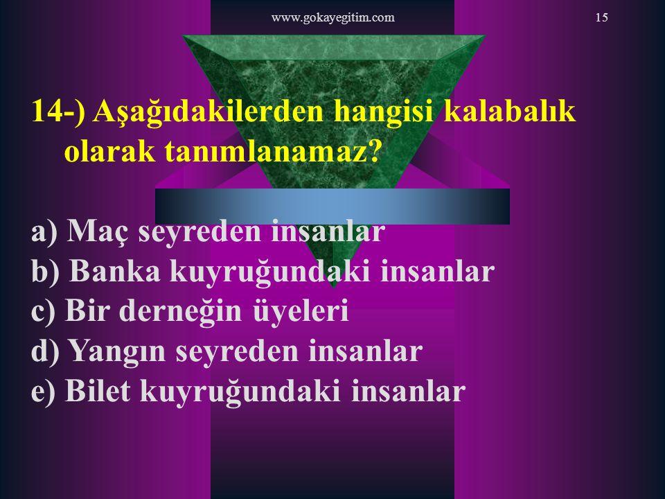 www.gokayegitim.com15 14-) Aşağıdakilerden hangisi kalabalık olarak tanımlanamaz? a) Maç seyreden insanlar b) Banka kuyruğundaki insanlar c) Bir derne