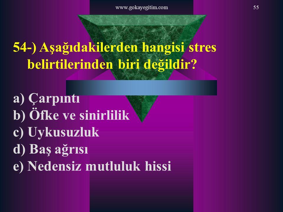 www.gokayegitim.com55 54-) Aşağıdakilerden hangisi stres belirtilerinden biri değildir? a) Çarpıntı b) Öfke ve sinirlilik c) Uykusuzluk d) Baş ağrısı