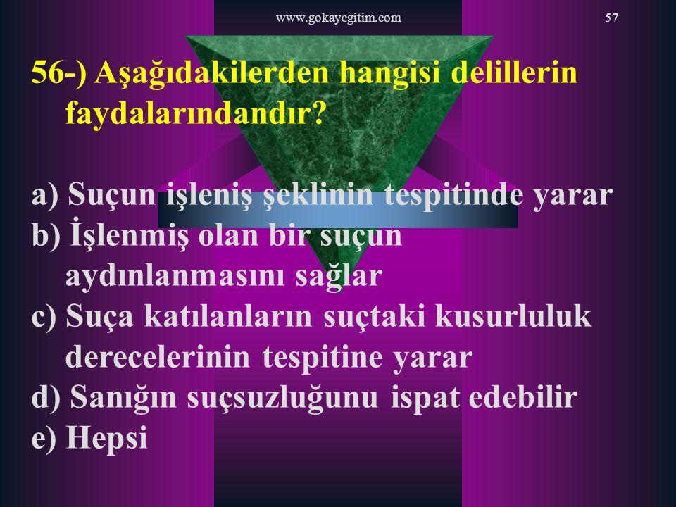 www.gokayegitim.com57 56-) Aşağıdakilerden hangisi delillerin faydalarındandır? a) Suçun işleniş şeklinin tespitinde yarar b) İşlenmiş olan bir suçun