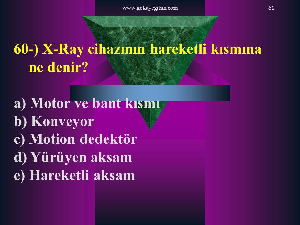 www.gokayegitim.com61 60-) X-Ray cihazının hareketli kısmına ne denir? a) Motor ve bant kısmı b) Konveyor c) Motion dedektör d) Yürüyen aksam e) Harek