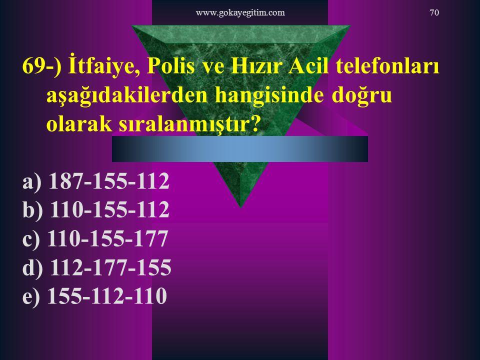 www.gokayegitim.com70 69-) İtfaiye, Polis ve Hızır Acil telefonları aşağıdakilerden hangisinde doğru olarak sıralanmıştır? a) 187-155-112 b) 110-155-1
