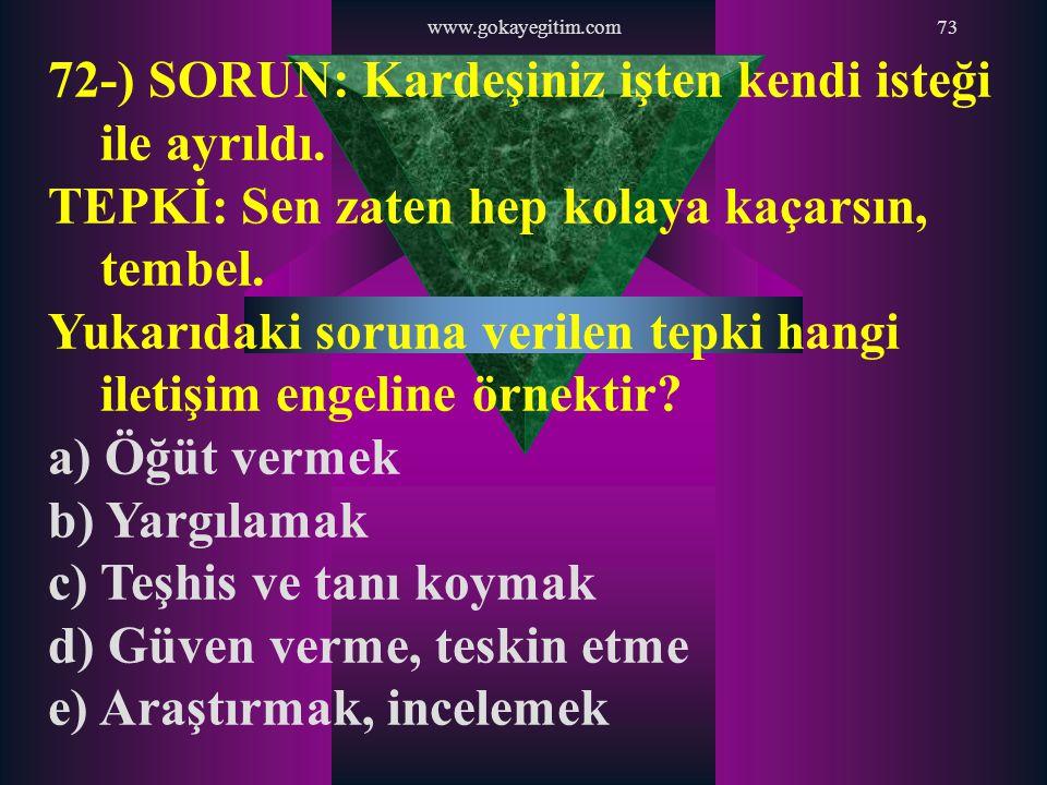 www.gokayegitim.com73 72-) SORUN: Kardeşiniz işten kendi isteği ile ayrıldı. TEPKİ: Sen zaten hep kolaya kaçarsın, tembel. Yukarıdaki soruna verilen t