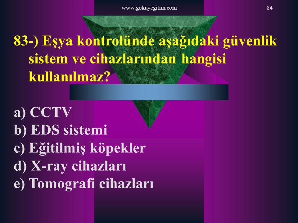 www.gokayegitim.com84 83-) Eşya kontrolünde aşağıdaki güvenlik sistem ve cihazlarından hangisi kullanılmaz? a) CCTV b) EDS sistemi c) Eğitilmiş köpekl
