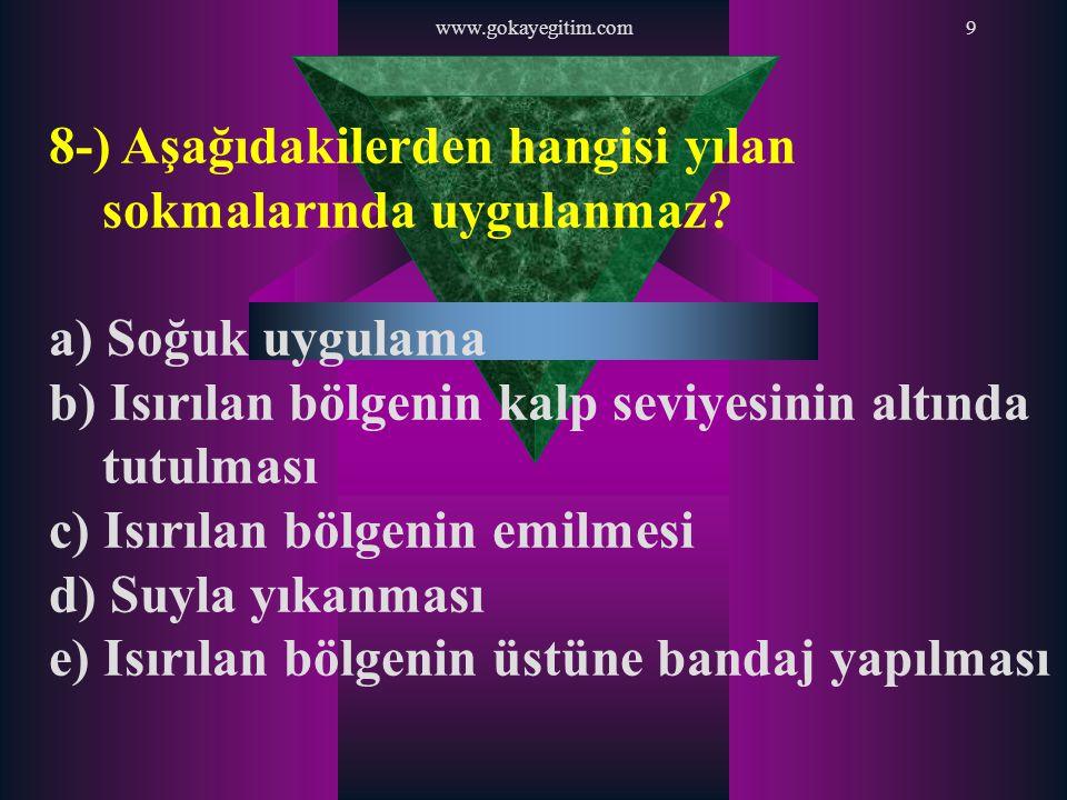 www.gokayegitim.com70 69-) İtfaiye, Polis ve Hızır Acil telefonları aşağıdakilerden hangisinde doğru olarak sıralanmıştır.