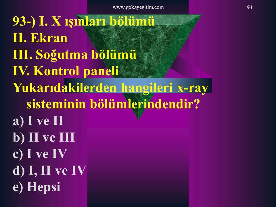 www.gokayegitim.com94 93-) I. X ışınları bölümü II. Ekran III. Soğutma bölümü IV. Kontrol paneli Yukarıdakilerden hangileri x-ray sisteminin bölümleri