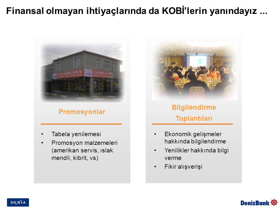 Finansal olmayan ihtiyaçlarında da KOBİ'lerin yanındayız... Promosyonlar Bilgilendirme Toplantıları Tabela yenilemesi Promosyon malzemeleri (amerikan