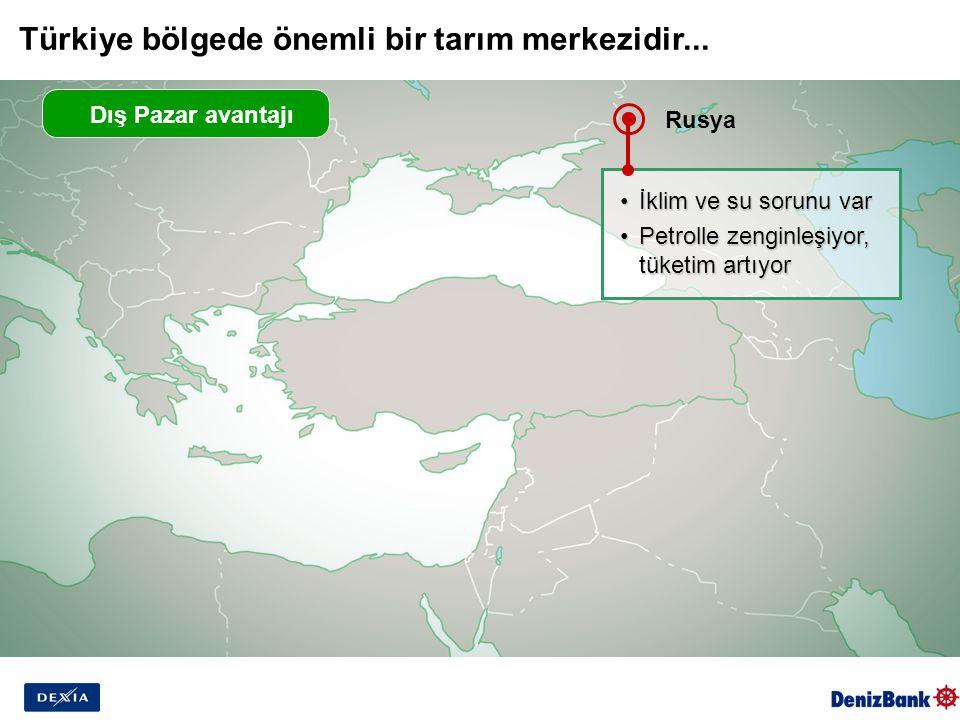 Dış Pazar avantajı Rusya İklim ve su sorunu varİklim ve su sorunu var Petrolle zenginleşiyor, tüketim artıyorPetrolle zenginleşiyor, tüketim artıyor Türkiye bölgede önemli bir tarım merkezidir...