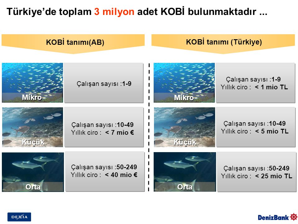 Mikro Türkiye'de toplam 3 milyon adet KOBİ bulunmaktadır... KOBİ tanımı(AB) KOBİ tanımı (Türkiye) Çalışan sayısı :1-9 Çalışan sayısı :10-49 Yıllık cir