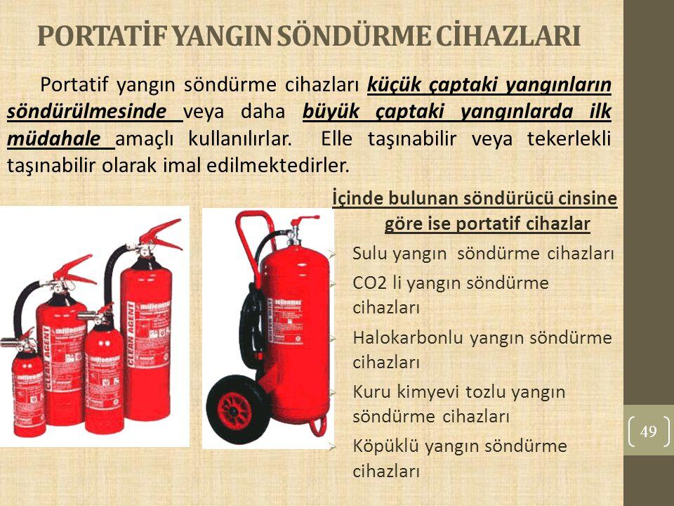 PORTATİF YANGIN SÖNDÜRME CİHAZLARI 49 Portatif yangın söndürme cihazları küçük çaptaki yangınların söndürülmesinde veya daha büyük çaptaki yangınlarda