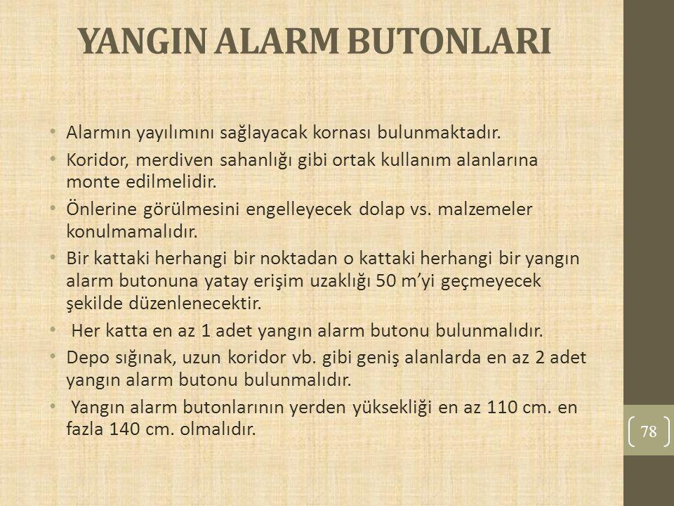 YANGIN ALARM BUTONLARI Alarmın yayılımını sağlayacak kornası bulunmaktadır. Koridor, merdiven sahanlığı gibi ortak kullanım alanlarına monte edilmelid