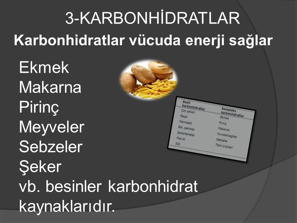 3-KARBONHİDRATLAR Karbonhidratlar vücuda enerji sağlar Ekmek Makarna Pirinç Meyveler Sebzeler Şeker vb.