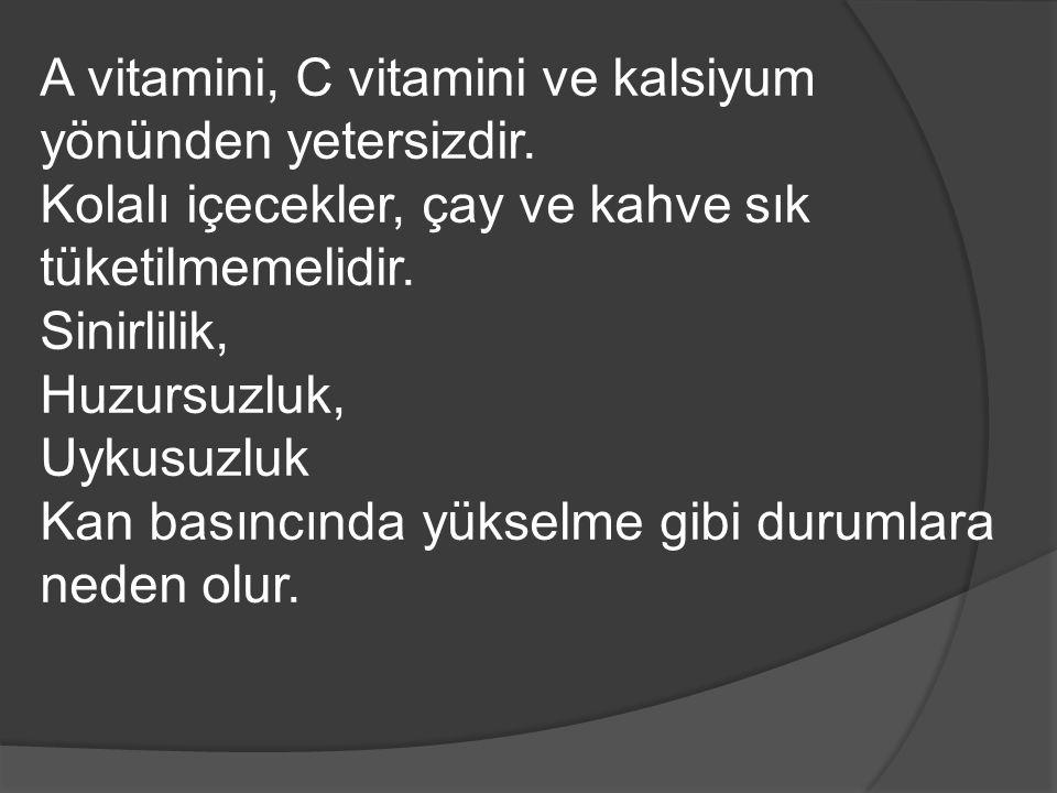 A vitamini, C vitamini ve kalsiyum yönünden yetersizdir.