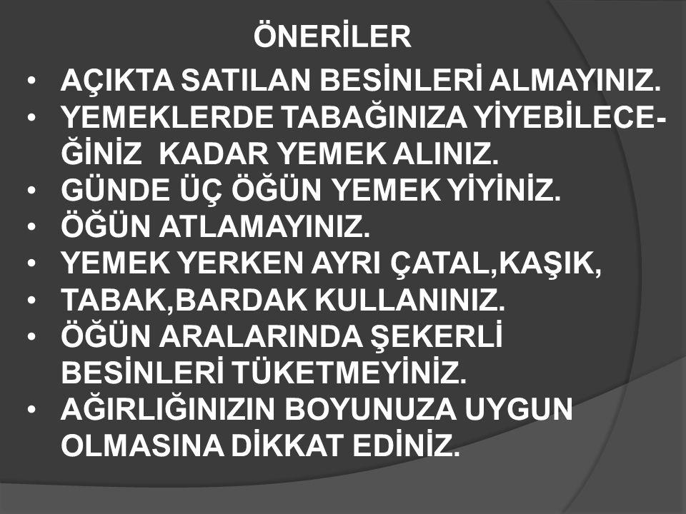 ÖNERİLER AÇIKTA SATILAN BESİNLERİ ALMAYINIZ.
