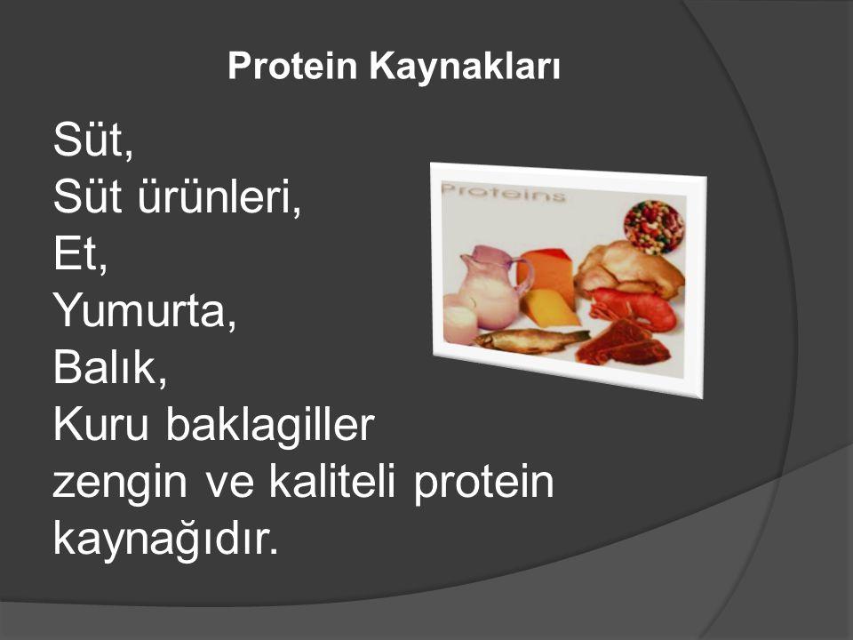 Protein Kaynakları Süt, Süt ürünleri, Et, Yumurta, Balık, Kuru baklagiller zengin ve kaliteli protein kaynağıdır.