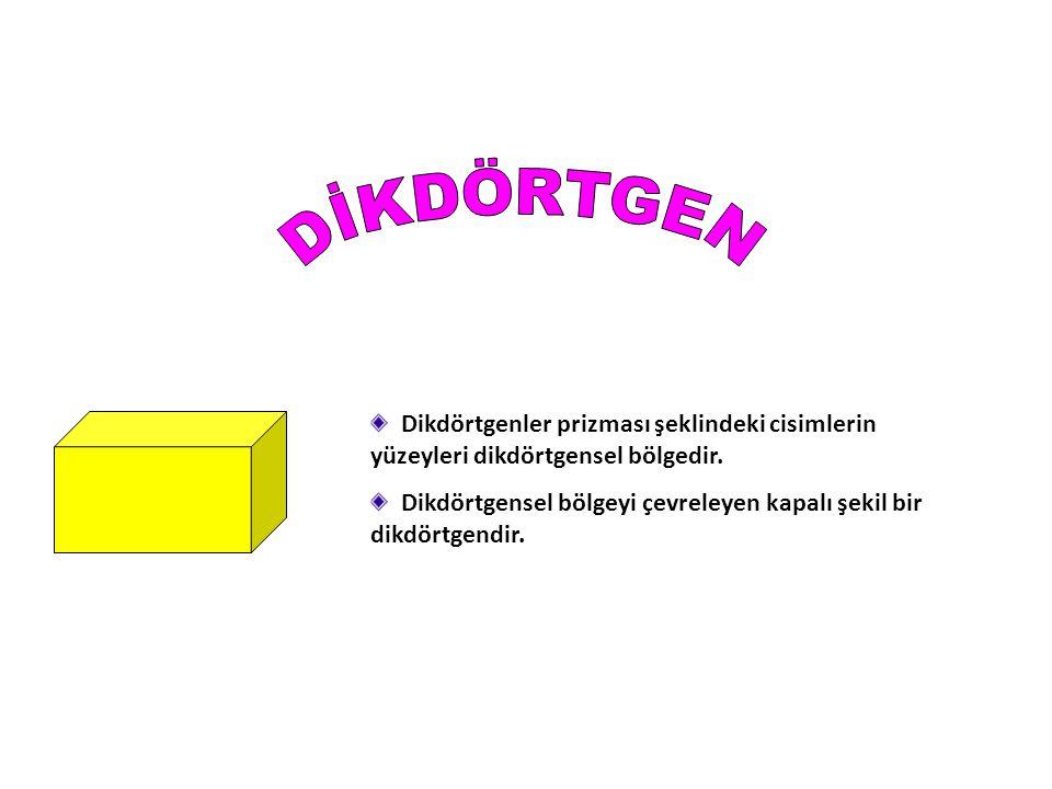 Dikdörtgenler prizması şeklindeki cisimlerin yüzeyleri dikdörtgensel bölgedir.