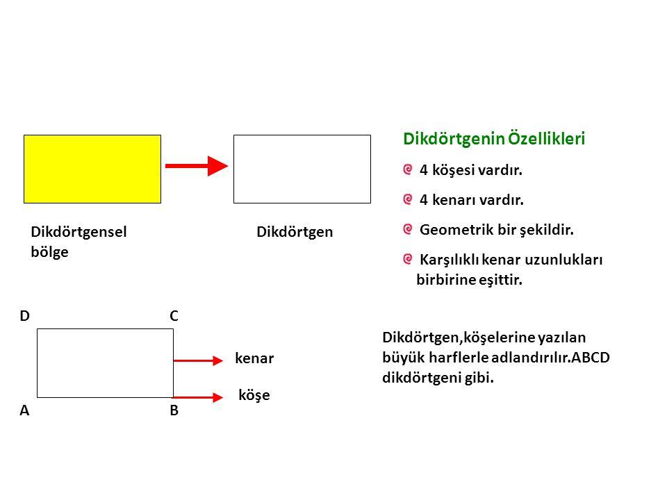 Dikdörtgensel bölge Dikdörtgen Dikdörtgenin Özellikleri 4 köşesi vardır.