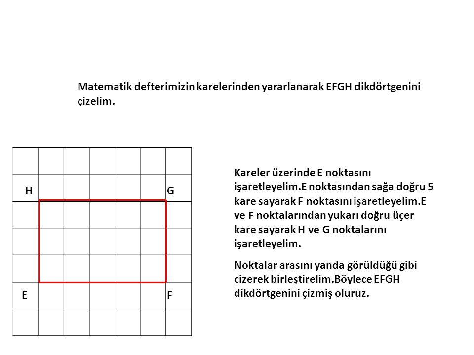 Matematik defterimizin karelerinden yararlanarak EFGH dikdörtgenini çizelim.