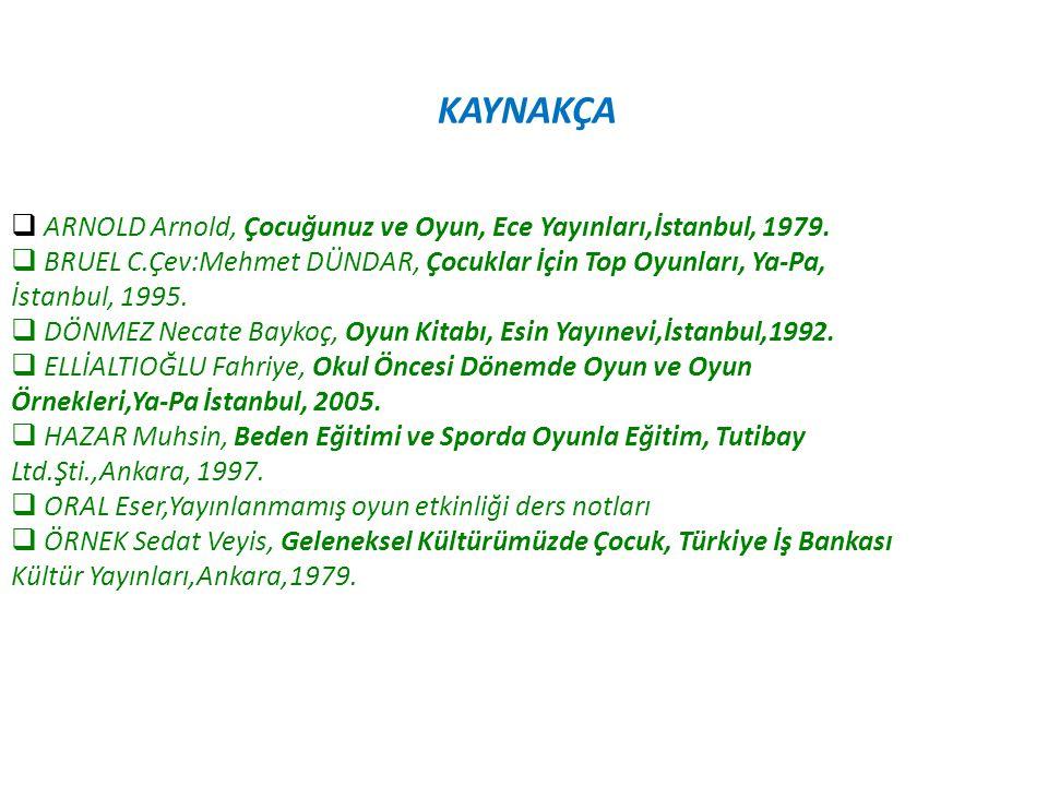 KAYNAKÇA  ARNOLD Arnold, Çocuğunuz ve Oyun, Ece Yayınları,İstanbul, 1979.  BRUEL C.Çev:Mehmet DÜNDAR, Çocuklar İçin Top Oyunları, Ya-Pa, İstanbul, 1