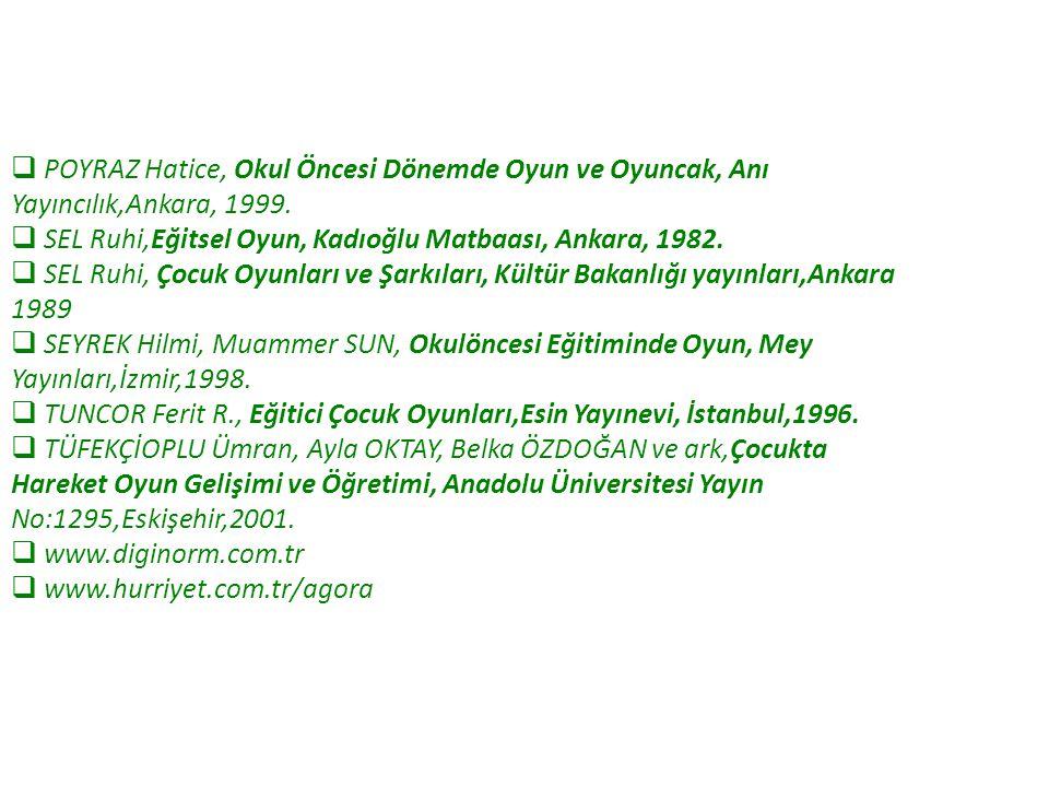  POYRAZ Hatice, Okul Öncesi Dönemde Oyun ve Oyuncak, Anı Yayıncılık,Ankara, 1999.  SEL Ruhi,Eğitsel Oyun, Kadıoğlu Matbaası, Ankara, 1982.  SEL Ruh
