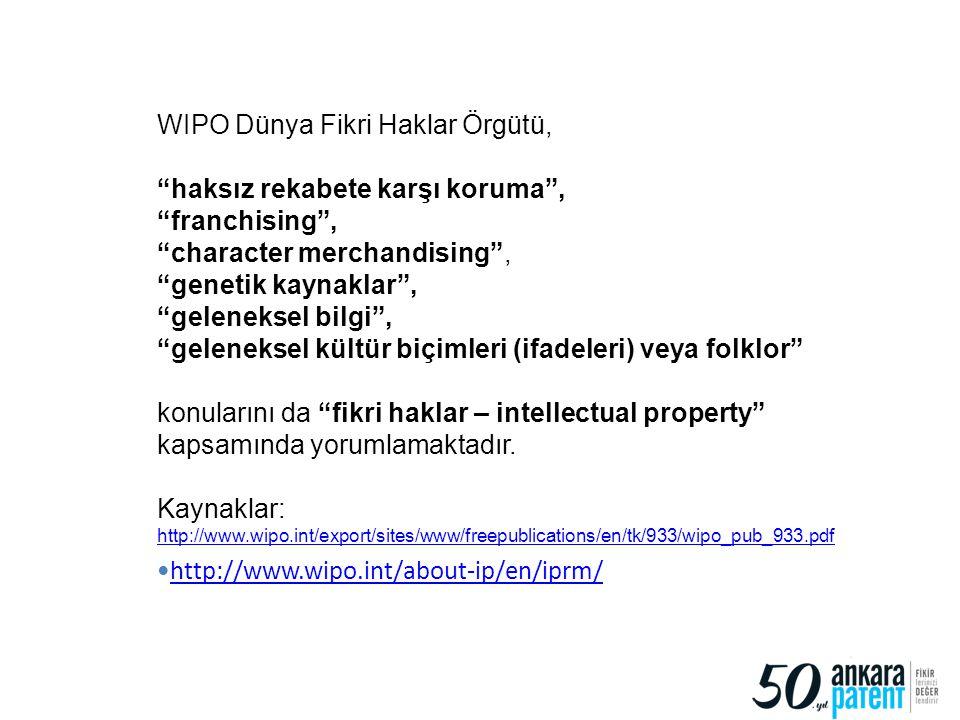"""15 WIPO Dünya Fikri Haklar Örgütü, """"haksız rekabete karşı koruma"""", """"franchising"""", """"character merchandising"""", """"genetik kaynaklar"""", """"geleneksel bilgi"""","""