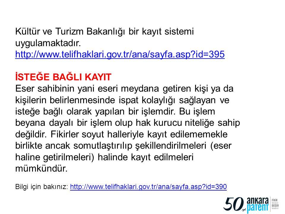 23 Kültür ve Turizm Bakanlığı bir kayıt sistemi uygulamaktadır. http://www.telifhaklari.gov.tr/ana/sayfa.asp?id=395 İSTEĞE BAĞLI KAYIT Eser sahibinin