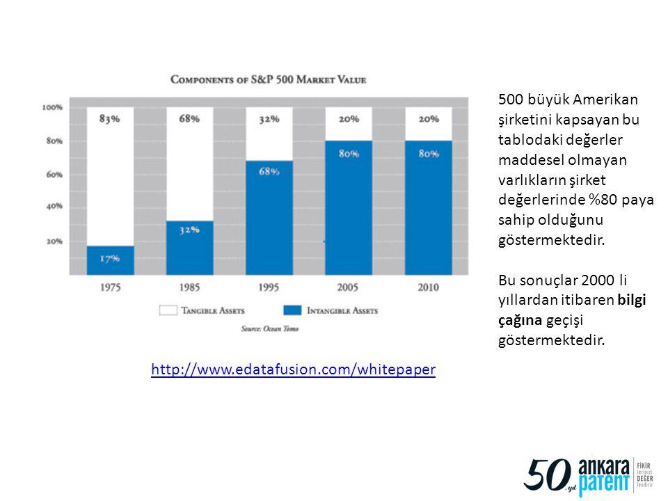 http://www.edatafusion.com/whitepaper 500 büyük Amerikan şirketini kapsayan bu tablodaki değerler maddesel olmayan varlıkların şirket değerlerinde %80