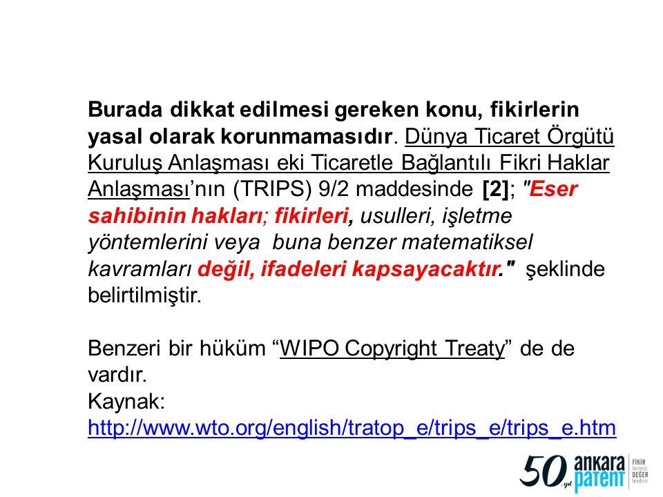 6 Burada dikkat edilmesi gereken konu, fikirlerin yasal olarak korunmamasıdır. Dünya Ticaret Örgütü Kuruluş Anlaşması eki Ticaretle Bağlantılı Fikri H