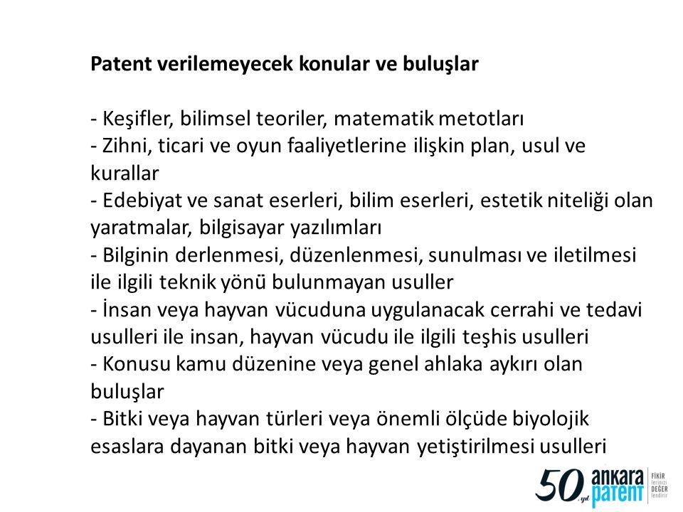 Patent verilemeyecek konular ve buluşlar - Keşifler, bilimsel teoriler, matematik metotları - Zihni, ticari ve oyun faaliyetlerine ilişkin plan, usul