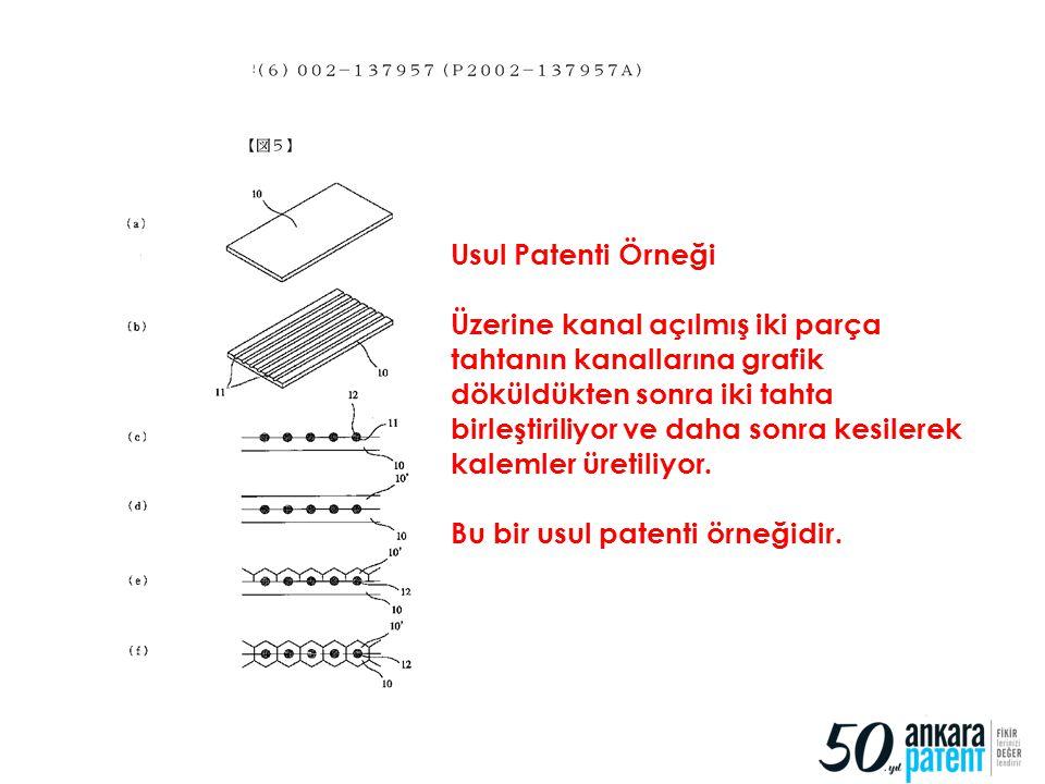 78 Usul Patenti Örneği Üzerine kanal açılmış iki parça tahtanın kanallarına grafik döküldükten sonra iki tahta birleştiriliyor ve daha sonra kesilerek