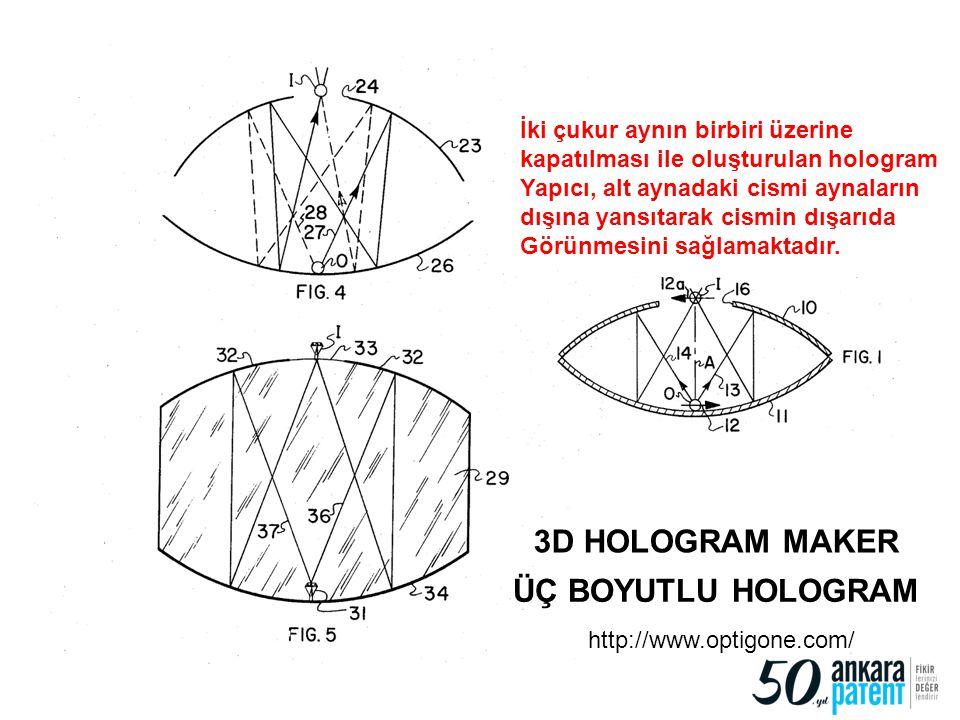 94 3D HOLOGRAM MAKER ÜÇ BOYUTLU HOLOGRAM http://www.optigone.com/ İki çukur aynın birbiri üzerine kapatılması ile oluşturulan hologram Yapıcı, alt ayn