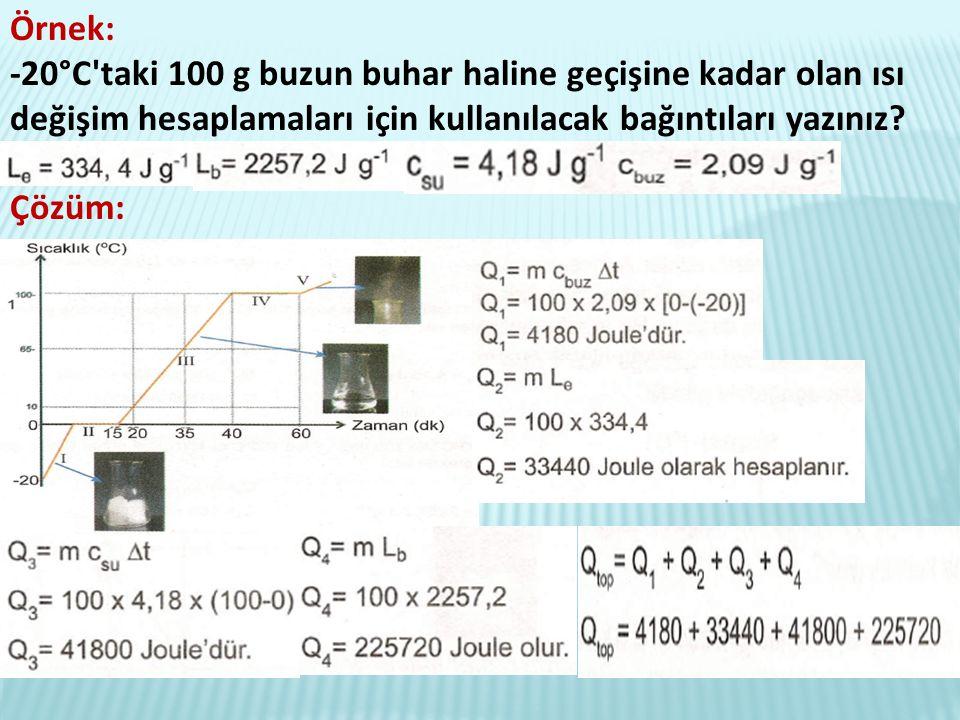 Örnek: -20°C taki 100 g buzun buhar haline geçişine kadar olan ısı değişim hesaplamaları için kullanılacak bağıntıları yazınız.