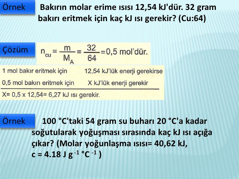 Bakırın molar erime ısısı 12,54 kJ dür.32 gram bakırı eritmek için kaç kJ ısı gerekir.