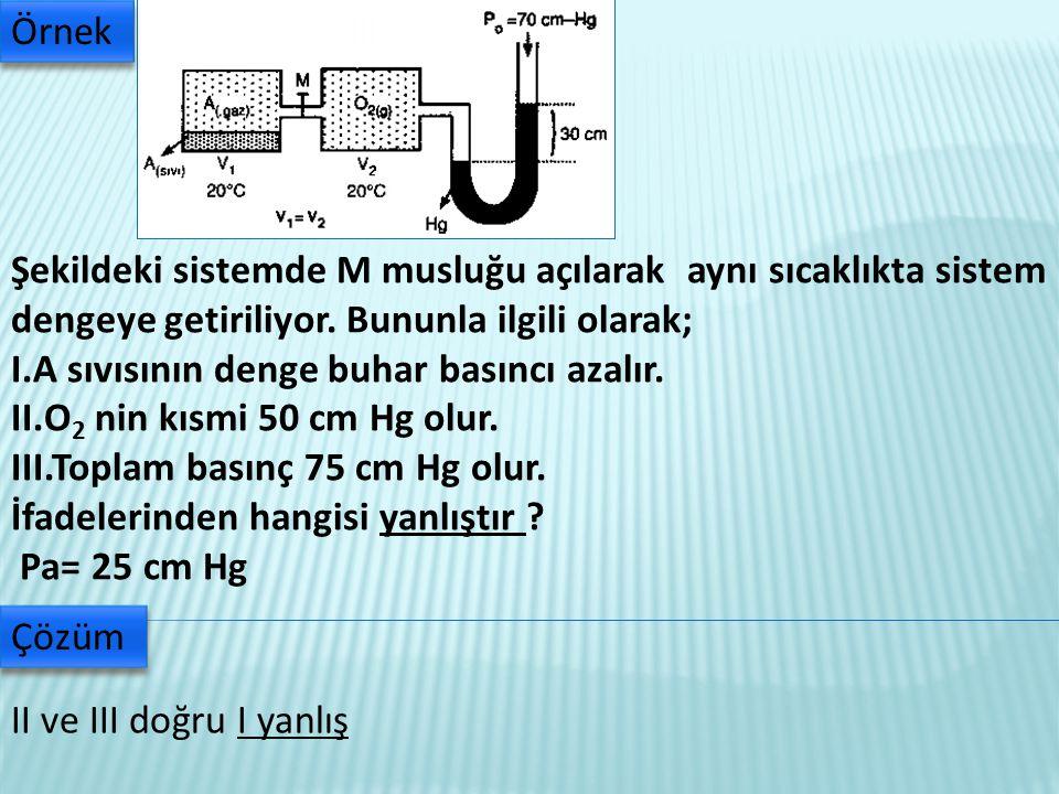 Şekildeki sistemde M musluğu açılarak aynı sıcaklıkta sistem dengeye getiriliyor.